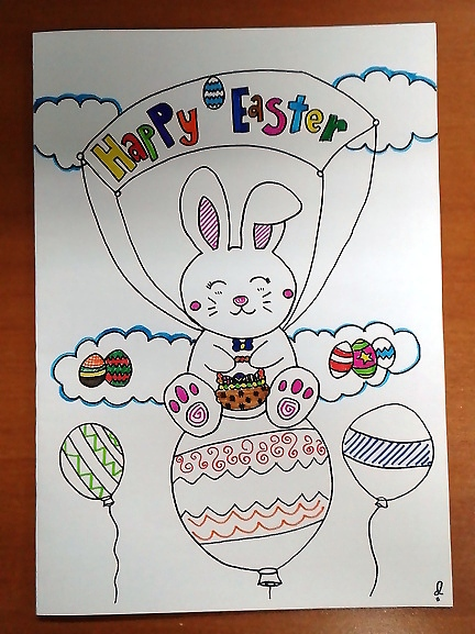 Easter Early Greeting|easy drawing easter bunny