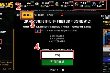 Drugwars又偷偷的更新,Future币可以直接兑换Steem到钱包