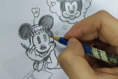 Minnie misses Mickey – easy drawing how to