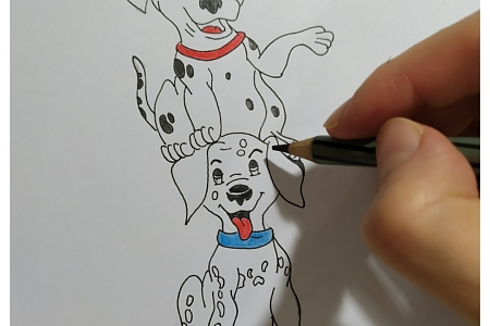 Cute Dalmations – easy how to draw  & color cartoon