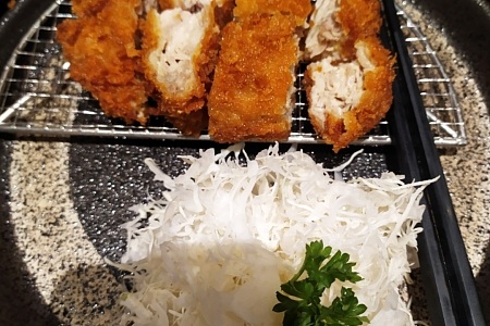 Eating Katsu (かつ) for Teatime